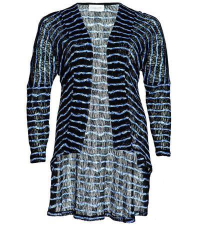 Chalou Damen Shirtjacke lang offen in Blau