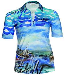 Hawaii Poloshirt für Damen von Chalou große Größen in Blau 001