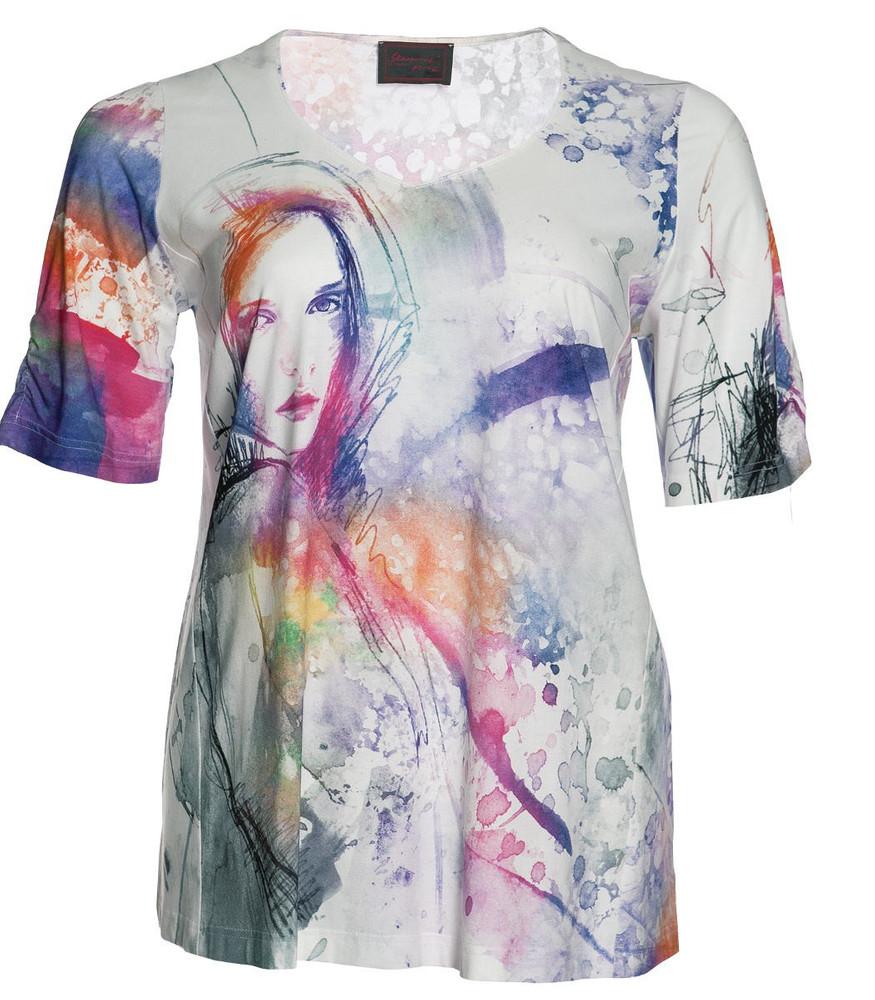 07038f50993d Sempre Piu by Chalou Damen Shirt Weiß Bunt Flieder