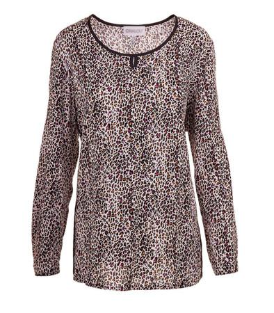 Chalou Tunika Langarm Shirt mit Leopardenmuster Weiß Braun