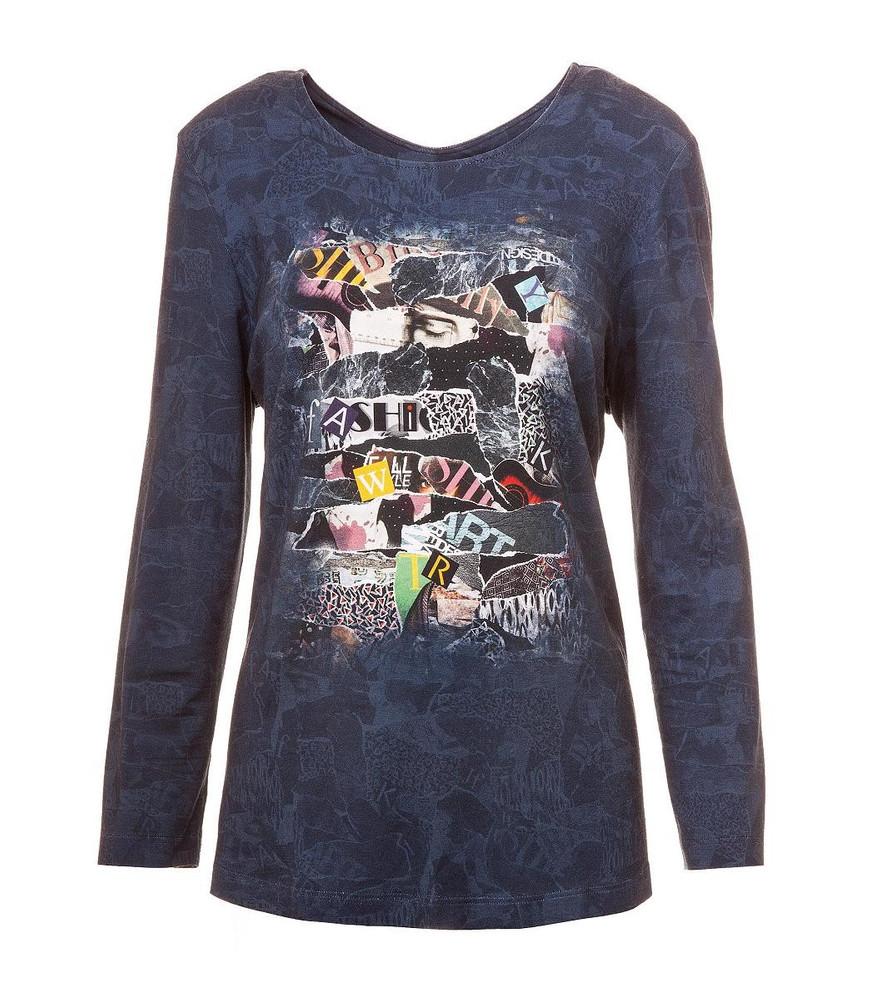 best service 84626 52e24 Chalou Langarm Shirt in Blau moderner Druck Stretch Viskose