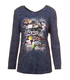Chalou Langarm Shirt in Blau moderner Druck Stretch Viskose 001
