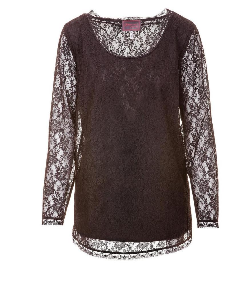 c18ecc04548f53 Sempre Piu Shirt Langarmshirt aus Spitze in Schwarz