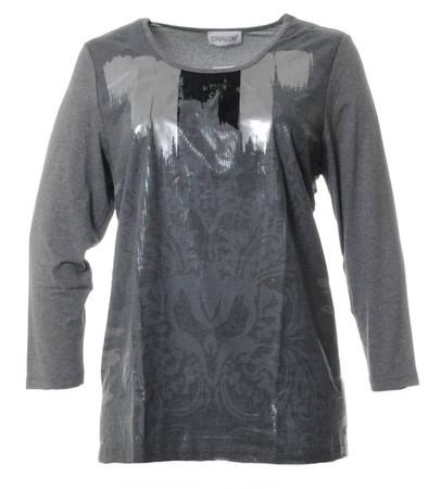 Chalou Shirt glänzend Langarm Grau Silber Viskose