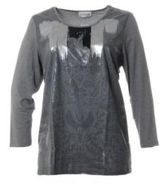 Chalou Shirt glänzend Langarm Grau Silber Viskose 001