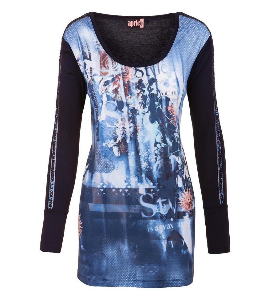 huge selection of e3c29 be28d Aprico Shirt Damen Blau Langarm Pailletten Viskose Druck