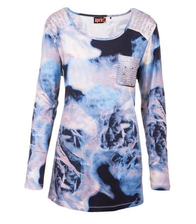 Apricot Mode Shirt Damen Hellblau Langarm Pailletten Batik Print