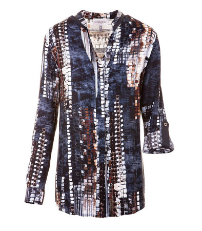 Chalou Blusen Langarm für Damen aus Viskose in Blau