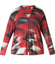 x-two Shirtjacke Cardigan für kurvige Damen in Rot 001