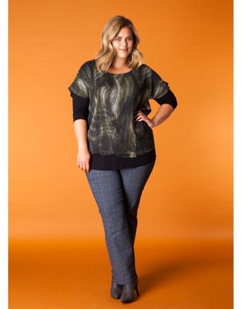 x-two Chiffon Shirt Twinset für Damen in Oliv-Grün mit Glitzer