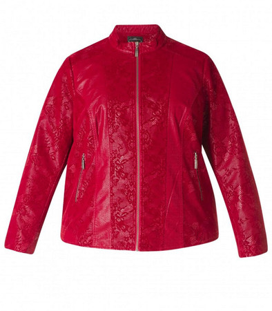 x-two Jacke Wildleder-Imitat für mollige Damen in Rot
