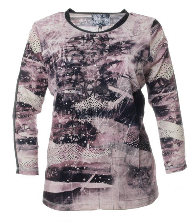 No Secret Damen Langarm Shirt Violett mit glänzenden Punkten