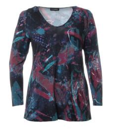 Stretch Shirt Langarm für Damen in Blau 001
