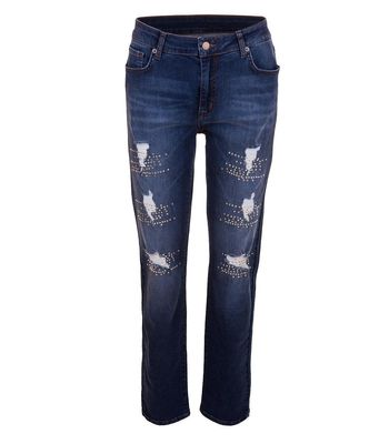 Aprico Stretch Jeans Destroyed-Look für Damen mit Strass in Blau