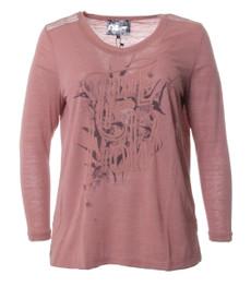 No Secret Damen Langarm Shirt mit Schrift Patch, Rosa 001