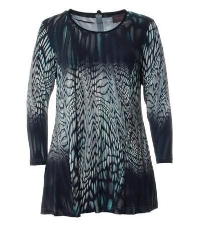 Damen Longshirt in A-Linie von Sempre Piu by Chalou in Blau Grün