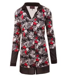 Sempre Piu Langarmshirt Damen mit Polokragen und V-Ausschnitt 001