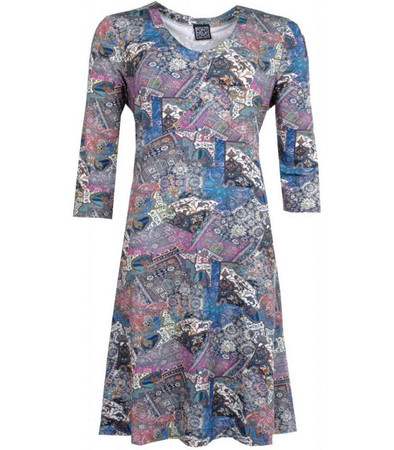 Pont Neuf Vintage Kleid langarm Blau Herbst Winter knielang