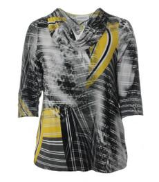 Chalou Damen Wasserfallshirt in Gelb Grau 001