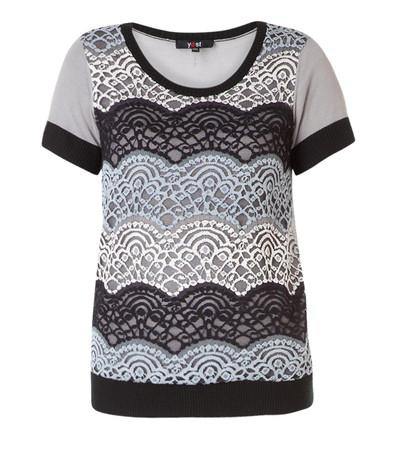 Yest T-Shirt Damen große Größen mit Spitze warm Blau / Beige