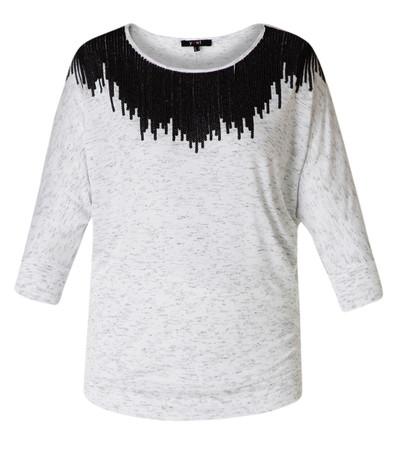 Yest Fledermaus Shirt Oberteil kurzarm Pailletten große Größen Weiß / Grau