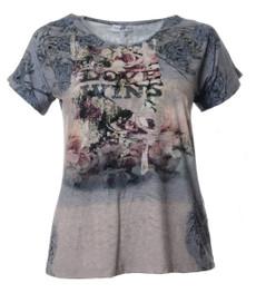 Serena Malin Damen T-Shirt kurzarm mit Blumendruck große Größen 001