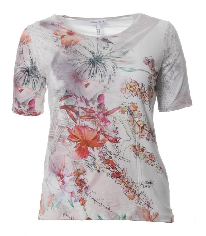 Freiraum suchen klassisch Gutscheincode Serena Malin Damen T-Shirt kurzarm Strass Blumendruck große Größen   Mode  für Mollige ❤ Damenmode Online Shop für große Größen