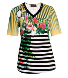 Sempre Piu ❤ kurzarm Shirt Damen mit Blumen Gelb große Größen 001