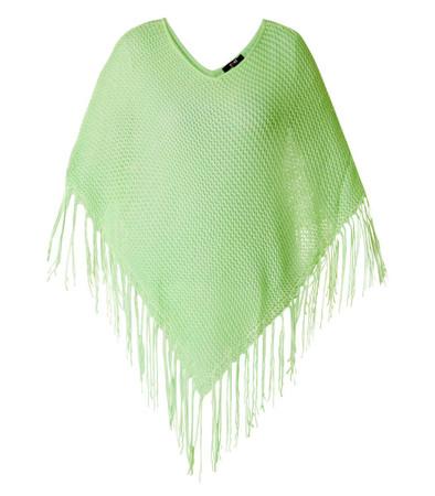 Poncho Cape Grün mit Fransen für Damen in großen Größen