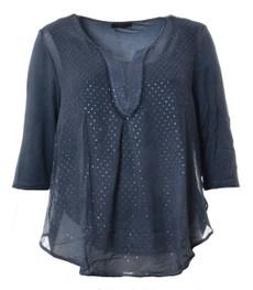 No Secret T-Shirt Damen Chiffon mit Glitzer große Größen Blau 001