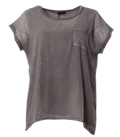 No Secret T-Shirt Damen Chiffon mit Glitzer große Größen Braun