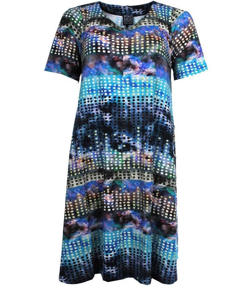 Sommerkleid Damen A-Linie große Größen knielang Blau ...