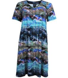 Sommerkleid Damen A-Linie große Größen knielang Blau kurzarm 001