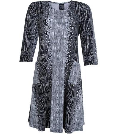 Pont Neuf Kleid Kitty Damen A-Linie 3/4 Arm knielang Schwarz Weiß