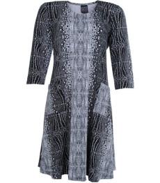 Pont Neuf Kleid Kitty Damen A-Linie 3/4 Arm knielang Schwarz Weiß 001