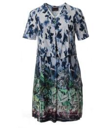 Sommer-Kleid Damen lang große Größen mit Jacke Blumenmuster Blau 001