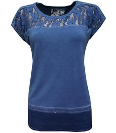 Oversize Shirt Damen Spitze Pailletten Blau für Mollige von No Secret 001