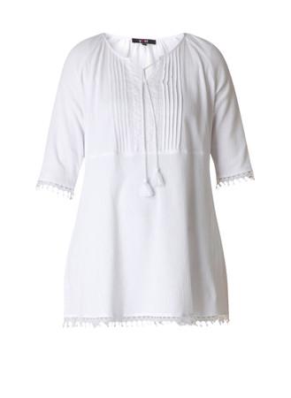Yesta Damen Tunika festlich aus Baumwolle in Weiß große Größen