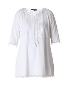 Yesta Damen Tunika festlich aus Baumwolle in Weiß große Größen 001