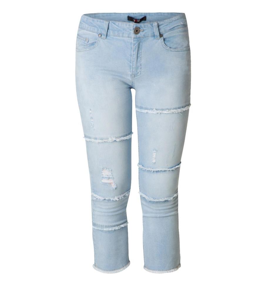 jeans damen gro e 3 4 gr en stretch destroyed look in hellblau. Black Bedroom Furniture Sets. Home Design Ideas