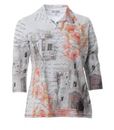 Poloshirt Damen Langarm große XXL Größen Weiß Apricot
