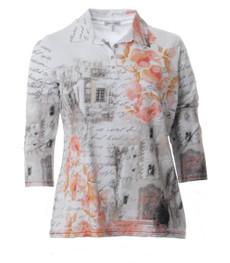 Poloshirt Damen Langarm große XXL Größen Weiß Apricot 001