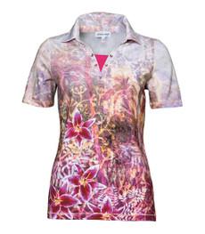 Poloshirt Damen kurzarm Rosa Pink große Größen 001