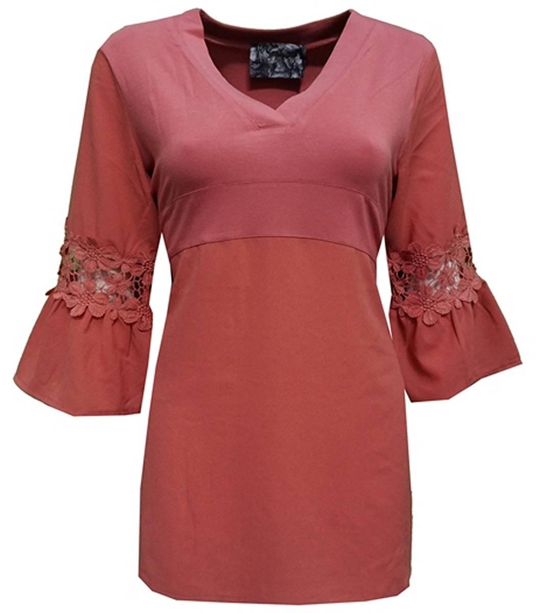 tunika bluse damen lang langarm gro e gr en rosa von no. Black Bedroom Furniture Sets. Home Design Ideas