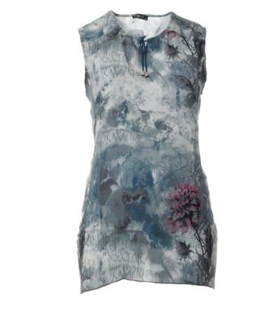 Damen Longtop Blau Grau Blumenmuster große Größen von No Secret