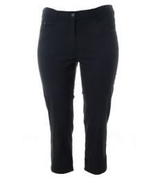 Bengalin Stretch Hose Damen 7/8 Kurzgröße große Größen Grau Schwarz Weiß 001