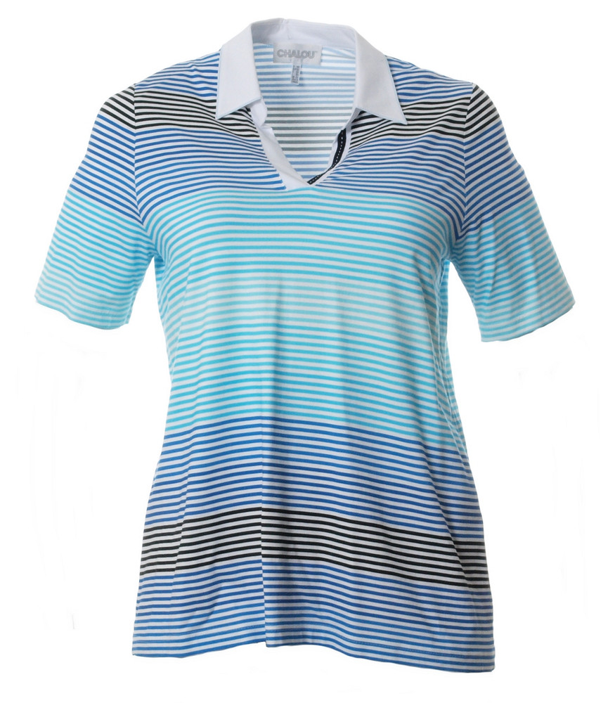 Poloshirt Damen Blau Türkis kurzarm große Größen von Chalou 1e38a71257