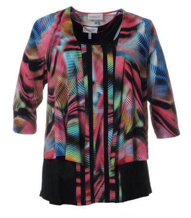 Twin-Set Top und Jacke für Damen große Größen Schwarz Bunt