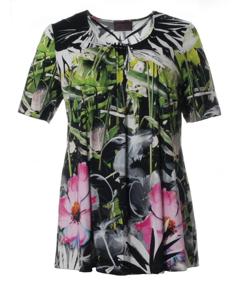 exquisites Design am besten billig Keine Verkaufssteuer Tunika lang kurzarm für Mollige Grün Schwarz Bunt   Mode für Mollige ❤  Damenmode Online Shop für große Größen