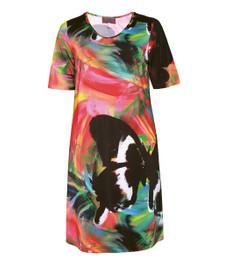 Sempre Piu Kleid wadenlang  in großen Größen Grün Bunt 001